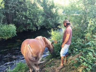 El paseo al río para beber agua